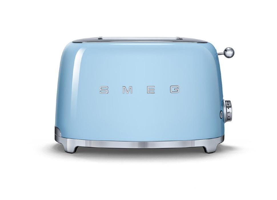 Тостеры Smeg TSF01PBEU голубой, корпус из нержавеющей стали, 6 уровней поджаривания