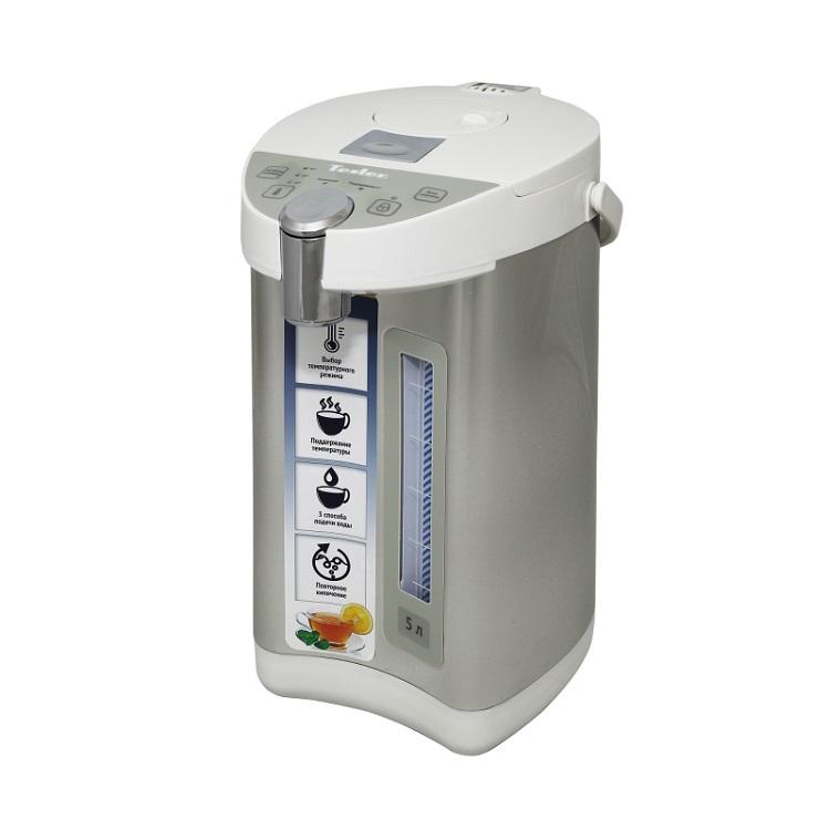 Термопот TESLER TP-5001, 5 литров, 750 Вт., корпус - пластик/нерж. сталь, колба - нерж. сталь, белый/нерж. сталь тройник феникс сэндвич 120 200 мм угол 90 градусов сталь aisi 430 1 0 нерж мат 0 5 нерж зерк 01037