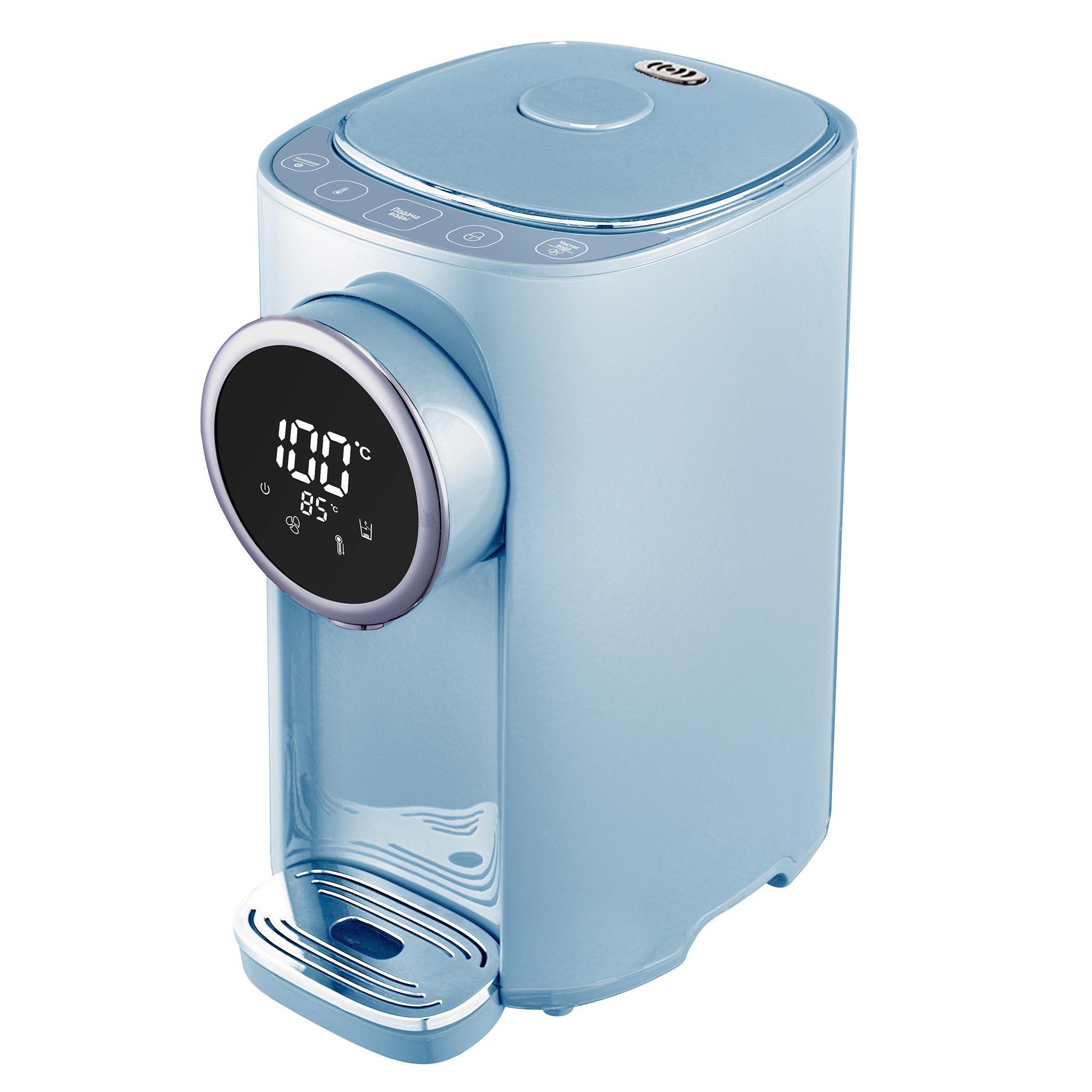 Термопот Tesler TP-5055 Sky Blue 5 литров, 1200 Вт, быстрое кипячение/охлаждение, корпус - пластик, колба - нерж. сталь термопот tesler tp 3001
