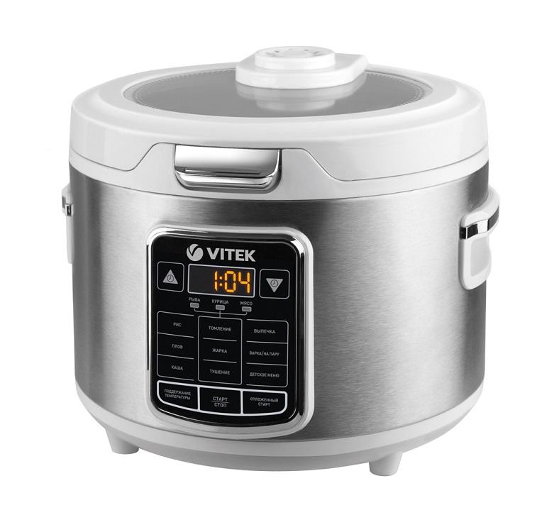 Мультиварка Vitek VT-4281 белый/серебристый 800 Вт, 4 л кофемолка vitek vt 7123 150 вт серебристый