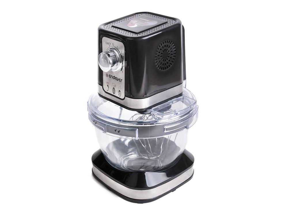 Кухонная машина Endever Sigma 27, черный, мощность 600 Вт, объем стеклянной чаши 4, л, три насадки, плавная регулировка скорости, кнопка отсоединения насадок все цены