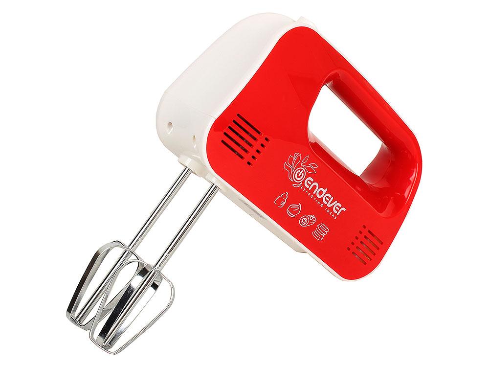 Миксер Endever Sigma 04, 250 Вт., 3 скорости смешивания, 2 комплекта насадок, красный/белый