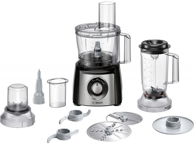 лучшая цена Кухонный комбайн Bosch MCM3501M 800Вт черно-серебристый