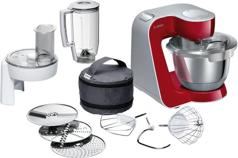 Кухонный комбайн Bosch MUM58720 серебристо-красный 1000 Вт