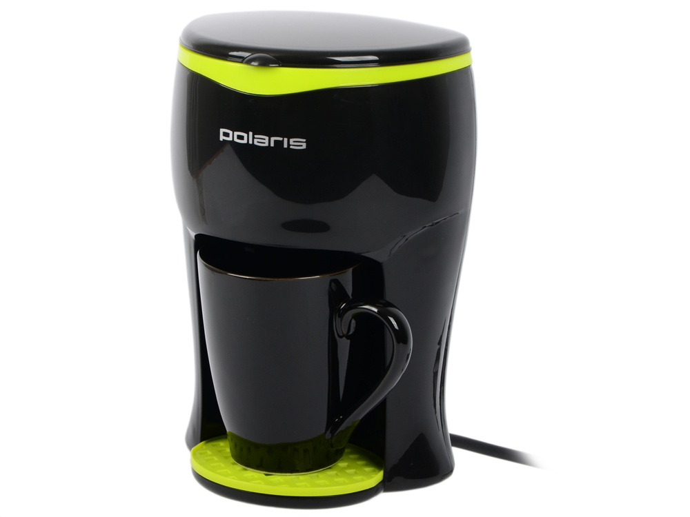 Кофеварка Polaris PCM 0109, Черный/салатовый кофеварка polaris pcm 1527e 850 вт золотисто черный