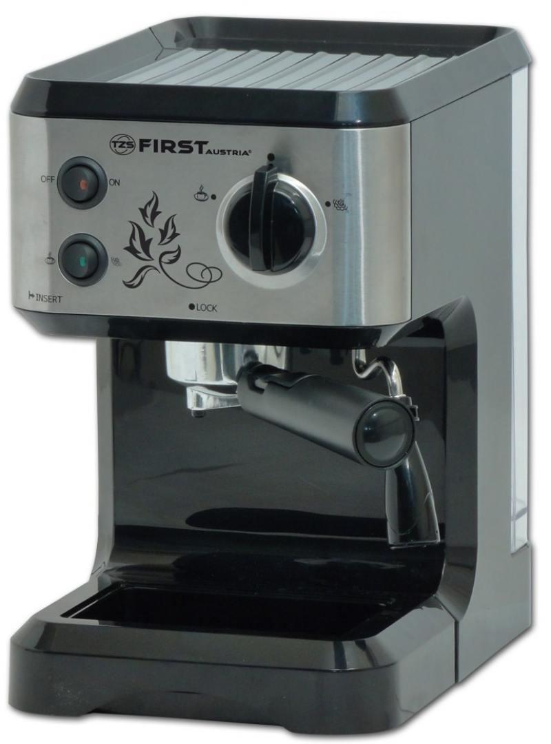 Кофеварка First FA-5476-1, 1050Вт, эспрессо, полуавтомат, капучино, д/молотого, черный цена и фото