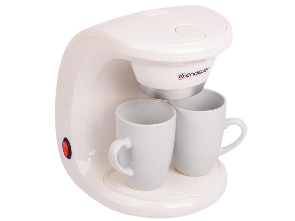 Кофеварка капельная Endever Costa-1040, белый/пластик-фарфор, 550 Вт, объем 0,3 л., моющийся фильтр
