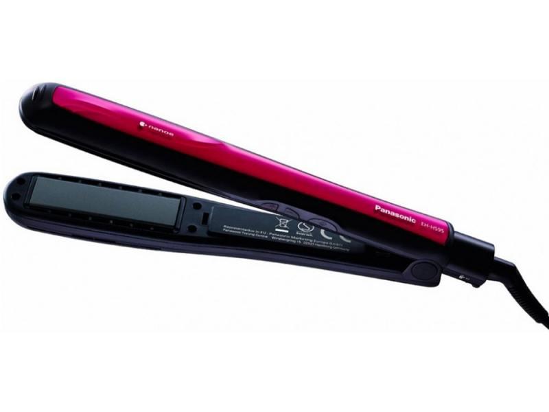 Выпрямитель волос Panasonic EH-HS95-K865, чёрный/фиолетовый 50 Вт, керам. покрытие, 5 режимов, 200°С, шнур 1.7 м выпрямитель волос panasonic eh hs41 k865 50 красный чёрный