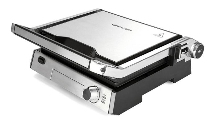 Электрогриль Kitfort KT-1602, 2000Вт, серебристый/чёрный элеktрогриль kitfort kt 1601 серебристый чёрный