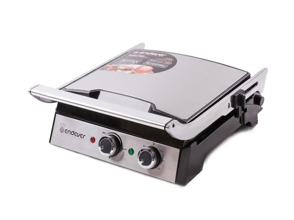 Электрический пресс-гриль ENDEVER Grillmaster 230, серебристый/черный гриль endever grillmaster 117