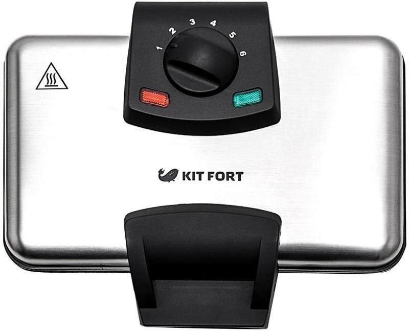 все цены на Вафельница Kitfort КТ-1606 серебристый чёрный 1000 Вт онлайн