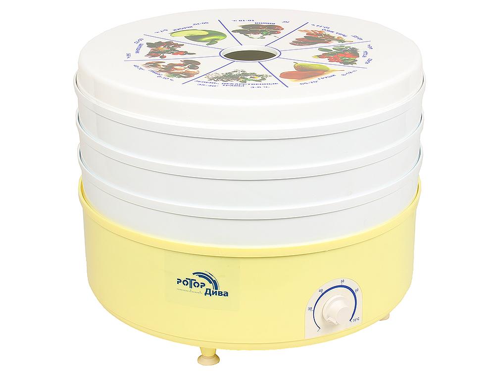 Сушилка для овощей и фруктов Ротор-Дива СШ-007-01 (007-07)(007) (3 поддона, гофротара, вент, Барнаул, 600 Вт, вес 5,кг, объем 12л, Барнаул)