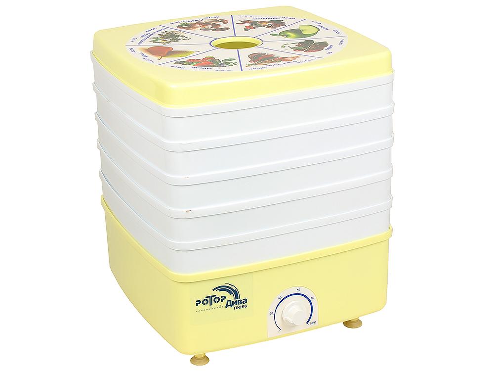 Сушилка для овощей и фруктов Ротор-Дива-Люкс СШ-010, 5 поддонов, цветная упаковка (вент, Барнаул, 600Вт, вес 6,5кг, объем сушильной камеры 17л, квадра