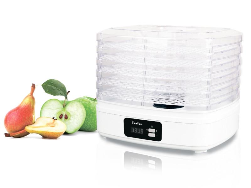 Сушилка для овощей и фруктов Tesler FD-521, конвективная, 230 Вт., эл. управл, 5 поддонов, 7 л., регул. температуры, белый сушилка для овощей binatone fd 323