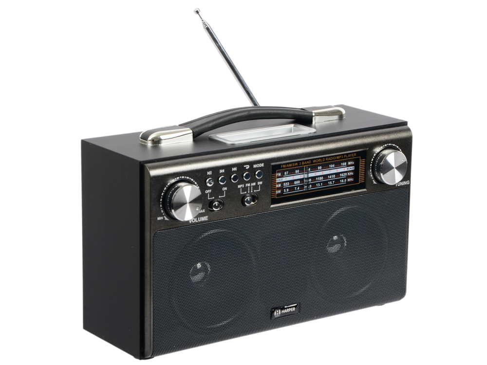 Радиоприемник HARPER HDRS-033 black (USB; SD карта; радио)