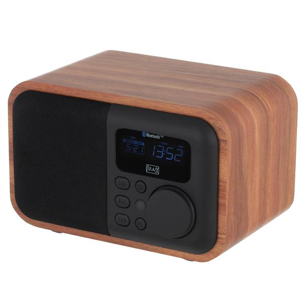 Радиоприемник MAX MR-332 Bluetooth, FM радио, MP3/WMA с USB/microSD,Li-ion аккумулятор, Время работы более 8 часов, цвет Brown Wood/Black