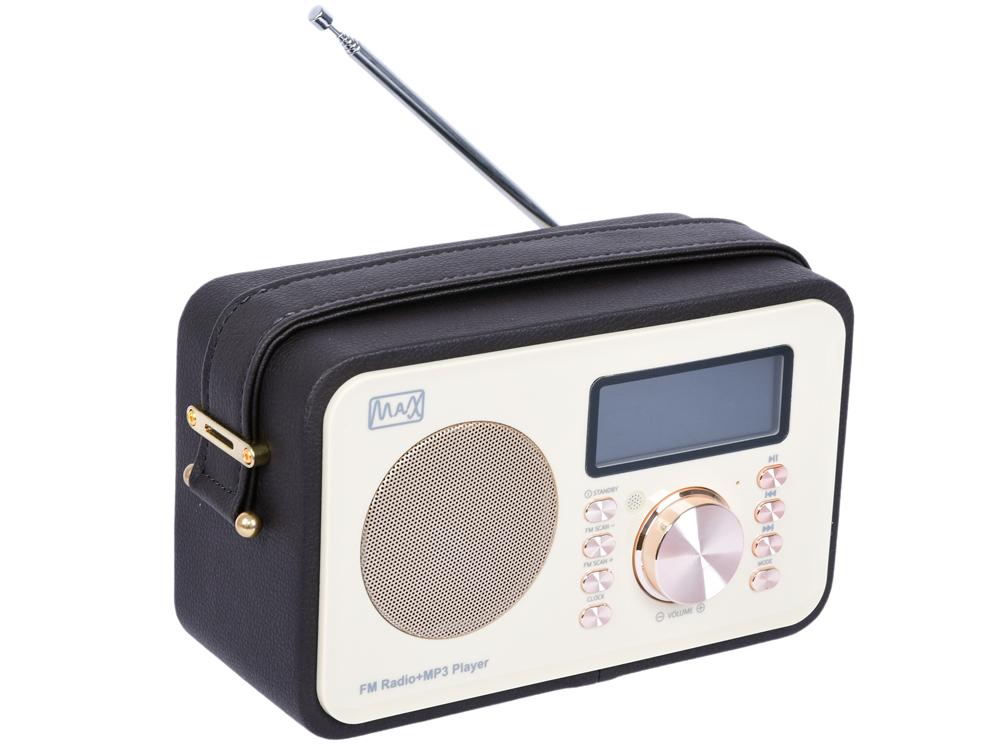 Радиоприемник MAX MR-350 Gold edition Дисплей с подсветкой, FM радио (87.5-108 МГц), MP3/WMA с USB/microSD, Часы/Будильник/Календарь.