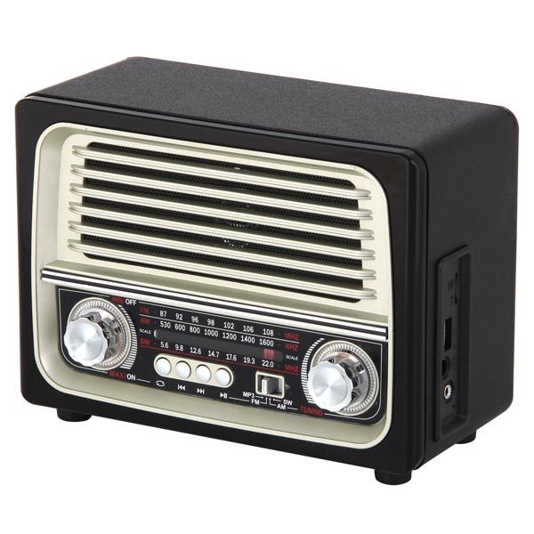 Радиоприемник MAX MR-370 Black/Gold  AM/FM/SW Трехполосный радиоприемник, Разъемы USB/TF, Bluetooth, Выход. мощность 5W