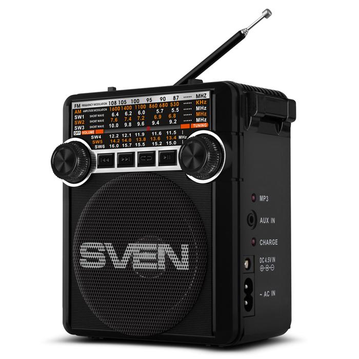 Радиоприемник SVEN SRP-355 черный 3 Вт, FM/AM/SW, USB, SD/microSD, фонарь, встроенный аккумулятор аккумулятор