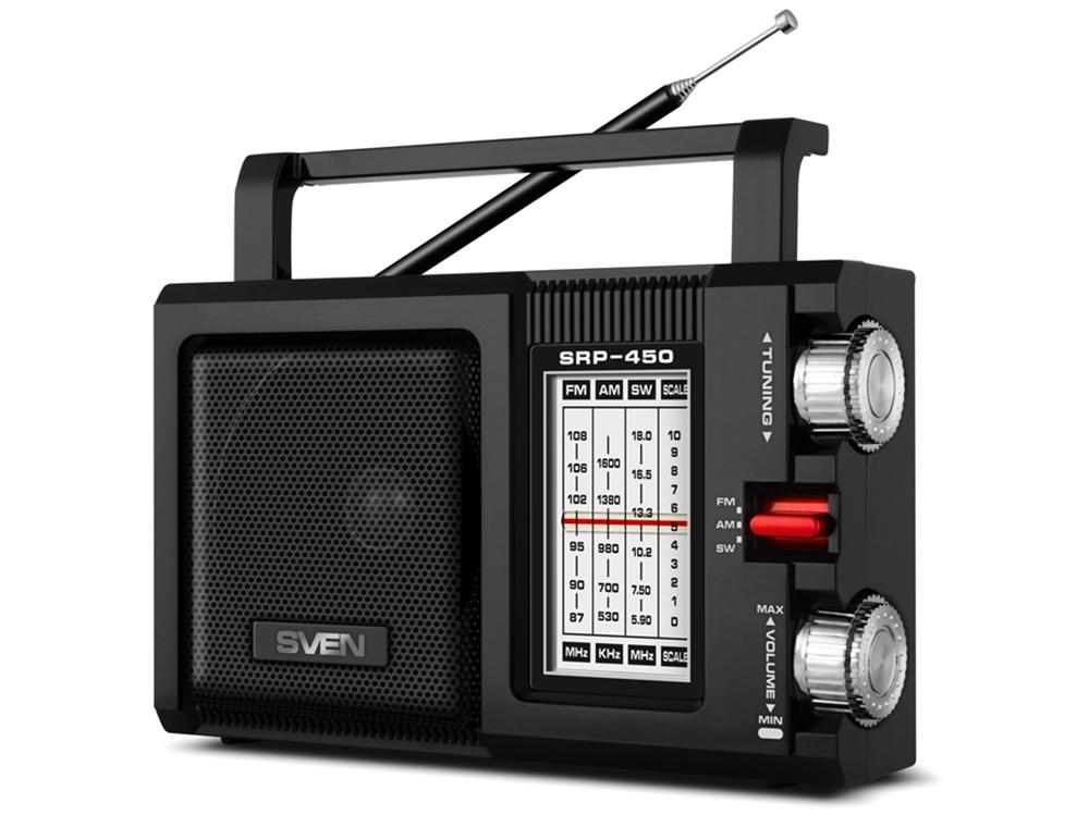 Радиоприемник SVEN SRP-450, черный (3 Вт, FM/AM/SW) радиоприемник sven srp 445 черный 3 вт fm am usb microsd встроенный аккумулятор