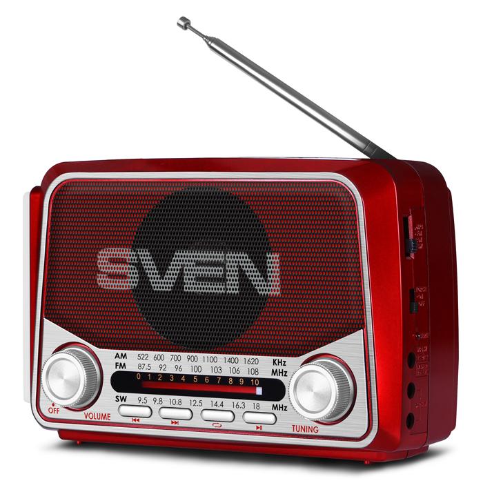 Фото - Радиоприемник SVEN SRP-525, красный 3 Вт, FM/AM/SW, USB, microSD, фонарь, встроенный аккумулятор аккумулятор
