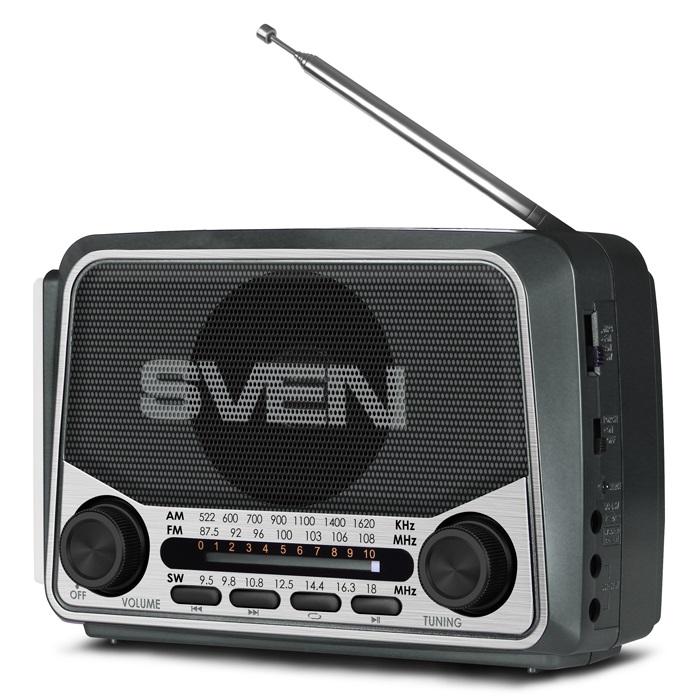 Радиоприемник SVEN SRP-525, серый 3 Вт, FM/AM/SW, USB, microSD, фонарь, встроенный аккумулятор аккумулятор