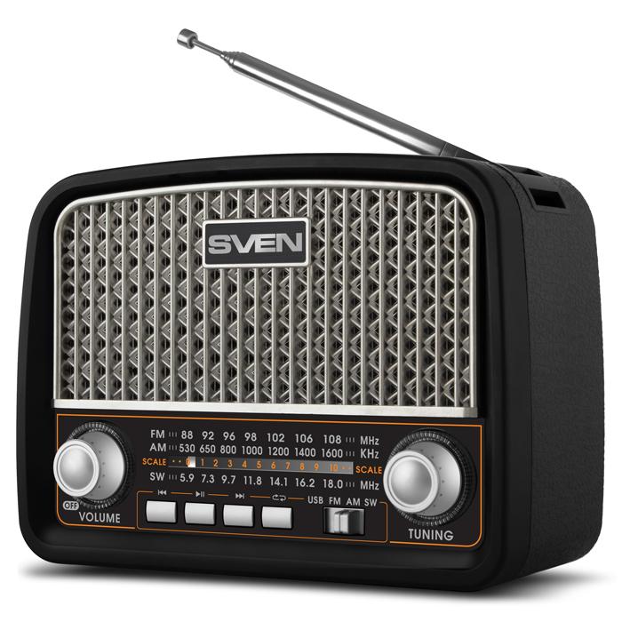 Фото - Радиоприемник SVEN SRP-555, черный-серебро (3 Вт, FM/AM/SW, USB, SD/microSD, встроенный аккумулятор) аккумулятор