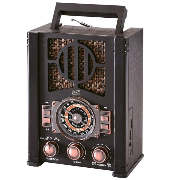Радиоприемник MAX MR-420 Ретро стиль, AM/FM/SW/Bluetooth/USB, Черный
