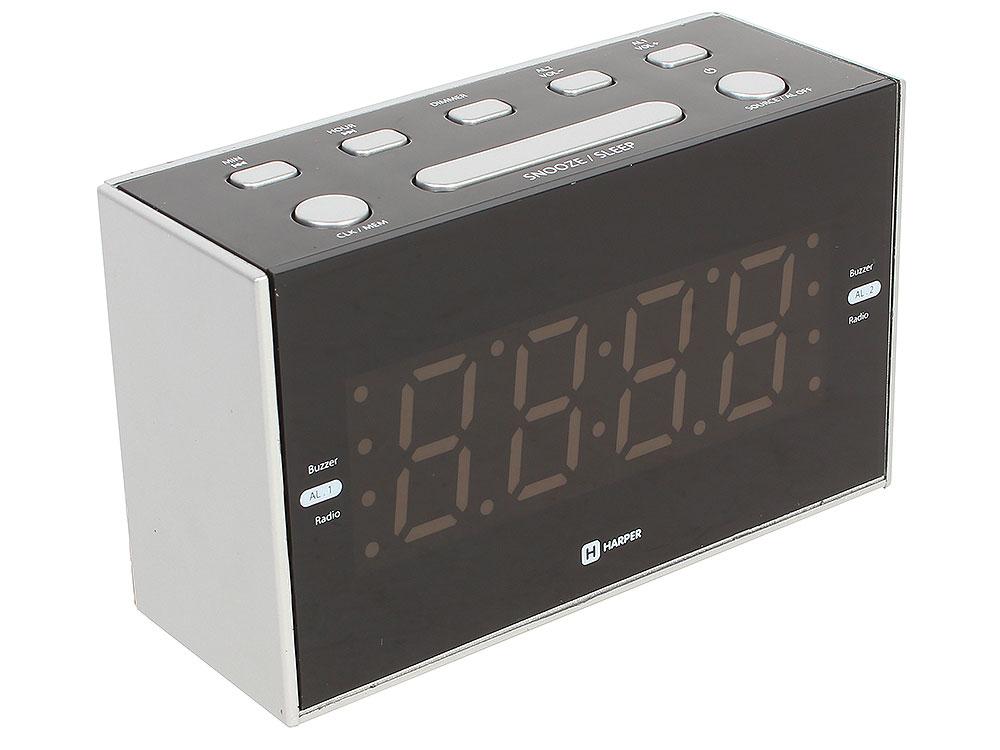цена Радиобудильник HARPER HCLK-2041 (Радио в качестве мелодии будильника, настройка двух будильников, 20 радиостанций, сеть или батарейки) онлайн в 2017 году