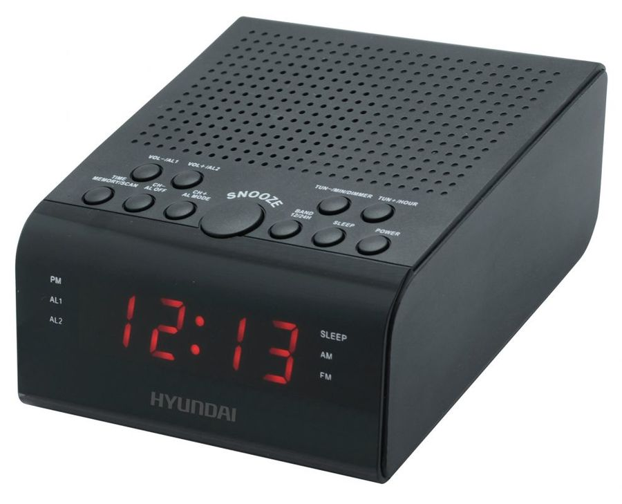 Радиобудильник Hyundai H-RCL180 черный LED подсв, красная часы, цифровые FM радиобудильник hyundai h rcl210 красная подсветка черный