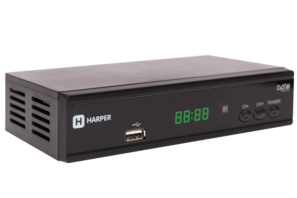 Цифровой телевизионный DVB-T2 ресивер HARPER HDT2-2015 экран, черный,Full HD, DVB-T, DVB-T2, поддержка внешних жестких дисков