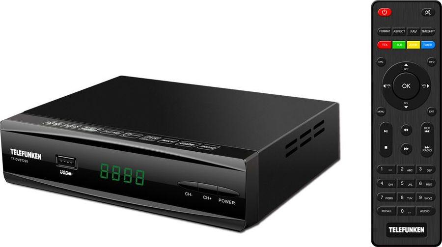 лучшая цена Цифровой телевизионный DVB-T2 ресивер Telefunken TF-DVBT228 черный
