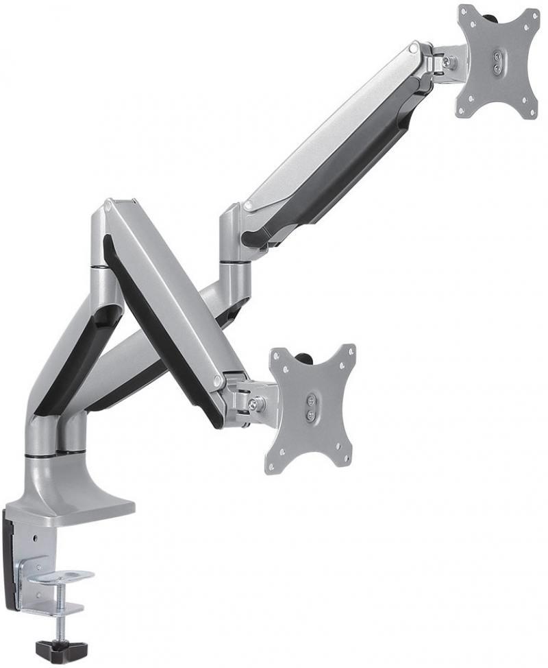 Кронштейн для мониторов Arm Media LCD-T32 Серебристый настольный, наклонно-поворотный, до 2х9 кг настольный кронштейн для монитора smartstool с12