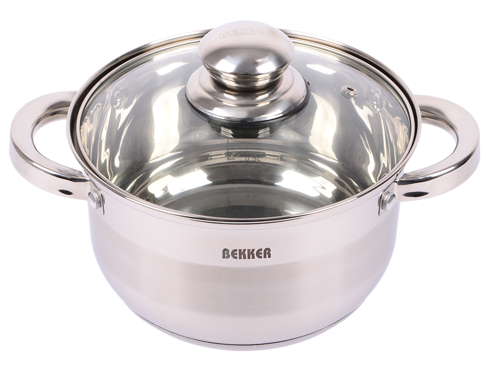 купить Кастрюля Bekker Jumbo ВК-1260 18 см 2.7 л нержавеющая сталь по цене 990 рублей