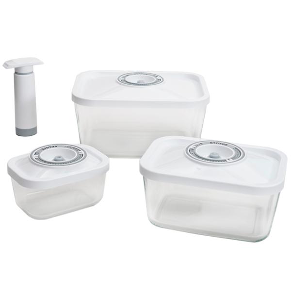 контейнеры Контейнеры для вакуумных упаковщиков Status набор VAC-Glass-Set White