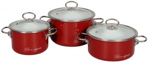 Набор кастрюль СТАЛЬЭМАЛЬ Bon appetit 8DB135S красный