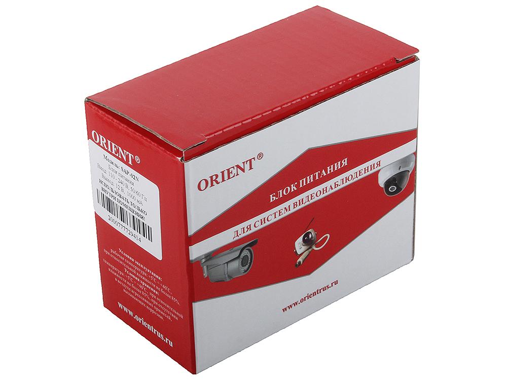 Блок питания для видеокамер Orient SAP-02N, OUTPUT: 12V DC 1000mA блок питания orient pb 40u3 output 12v dc 20a стабилизированный защита от кз и перегрузки imax 21 5a регулятор напряжения 3 выхода металличес