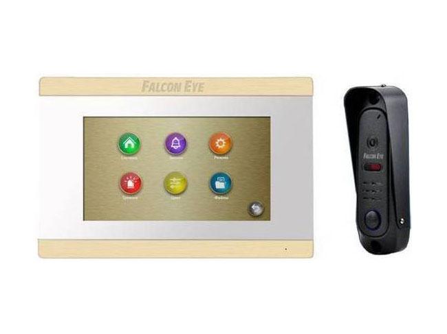 Комплект видеодомофона Falcon FE-ARIES white + FE311A Видеодомофон: дисплей 7 TFT; сенсорный экран; подключение до 2-х вызывных панелей и до 2-х вид видеодомофон falcon eye fe 101 atlas black ahd дисплей 10 tft сенсорные кнопки подключение до 2 х вызывных панелей и до 2 х видеокамер адресный