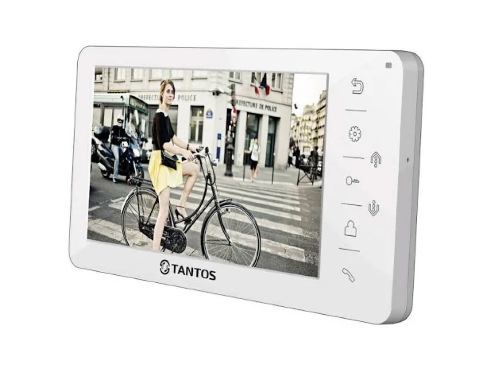 Видеодомофон TANTOS Amelie - SD (White) цветной, TFT LCD 7, PAL/NTSC, Hands-Free, запись фото при вызове, 2 панели, 2 камеры, до 4-х шт. в параллель, видеорегистратор tantos