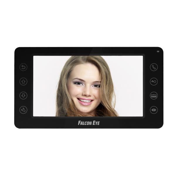 Видеодомофон Falcon Eye FE-70CH ORION (Black) Цветной видеодомофон TFT LCD экран 7, сенсорные кнопки, 4-х проводной. подключение: 2 панели вызова и видеодомофон falcon eye fe 70 aries white дисплей 7 tft сенсорный экран подключение до 2 х вызывных панелей и до 2 х видеокамер интерком графи