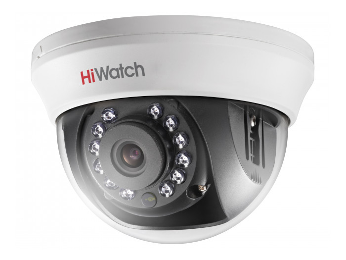 Фото - Камера HiWatch DS-T201 (2.8 mm) 2Мп внутренняя купольная HD-TVI камера с ИК-подсветкой до 20м 1/2.7 CMOS матрица; объектив 2.8мм; угол обзора 103°; объектив