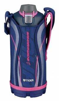 Термос спортивный Tiger MME-C100 Navy 1,0 л, цвет синий (для холодных напитков, нержавеющая сталь, ширина горловины 7см, чехол с регулируемым наплечны