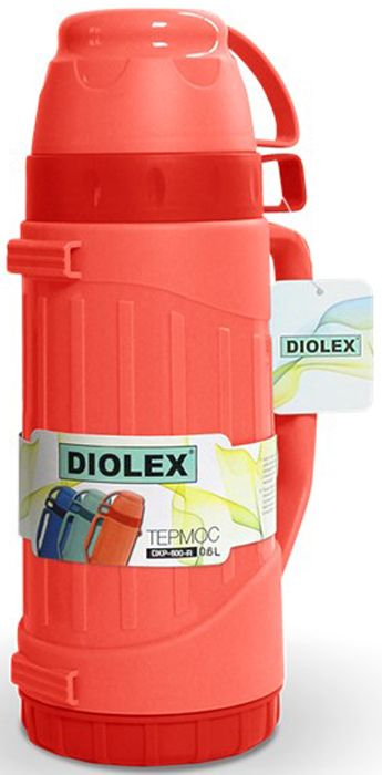 Термос Diolex DXP-600-R 600 мл красный пластиковый со стеклянной колбой термос camelbak chute 600 мл 1515101060
