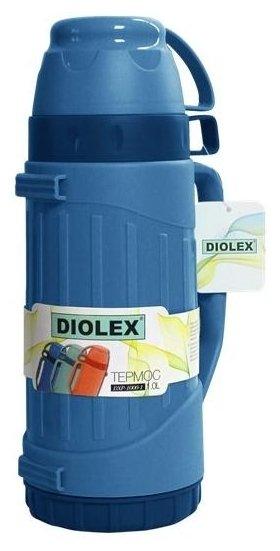 Термос Diolex DXP-600-B 600 мл синий пластиковый со стеклянной колбой 600 мл термос camelbak chute 600 мл 1515101060