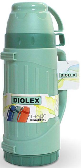 Термос Diolex DXP-600-G 600 мл зеленый пластиковый со стеклянной колбой термос camelbak chute 600 мл 1515101060