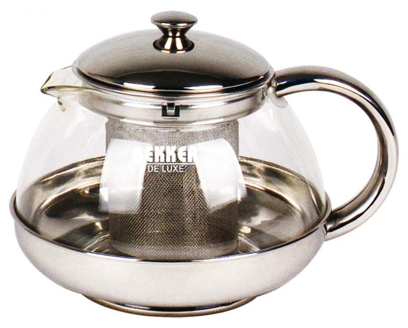 Картинка для Чайник заварочный Bekker Deluxe BK-398 0.75 л металл/стекло серебристый