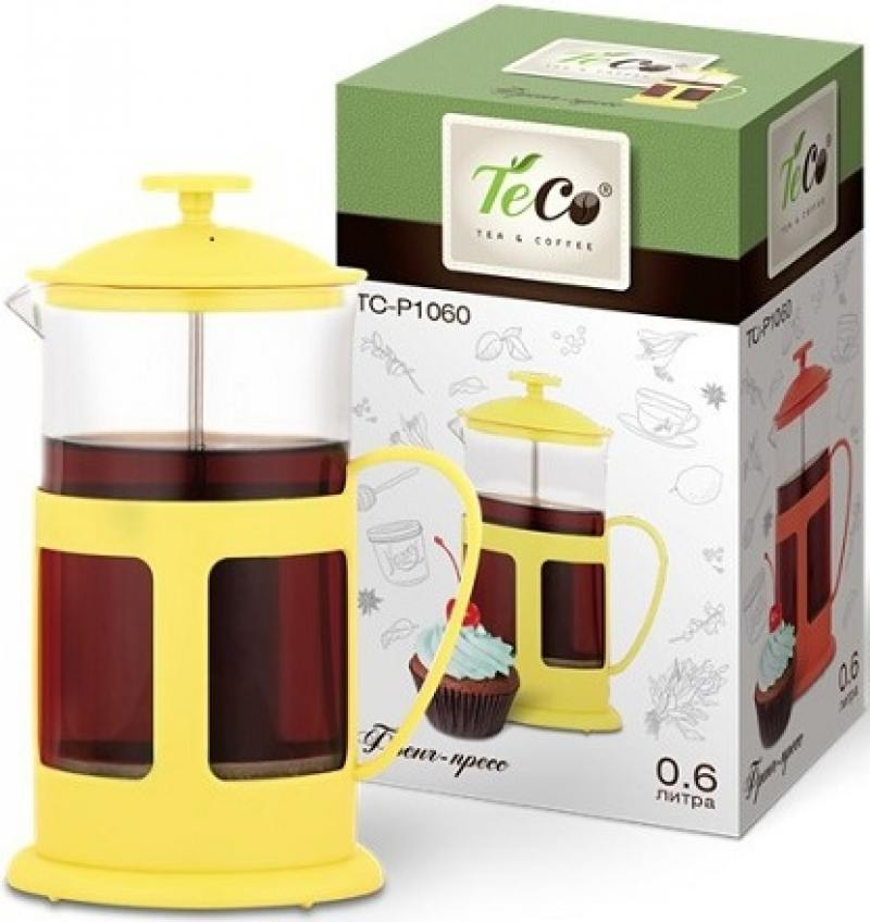 Френч-пресс Teco TC-P1060-Y 600 мл из пластика и стекла желтый кофейник френч пресс 600 мл gefu кофейник френч пресс 600 мл