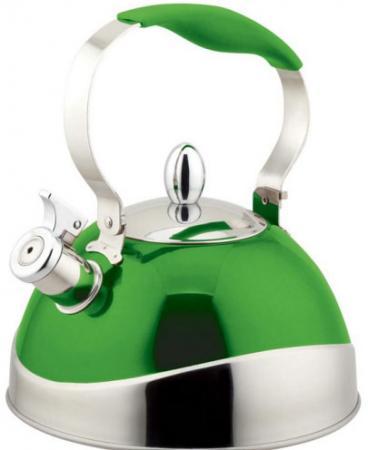 цена на Чайник Teco TC-107G 3 л зеленый со свистком нерж.сталь стали c капсульным дном с силик. ручкой