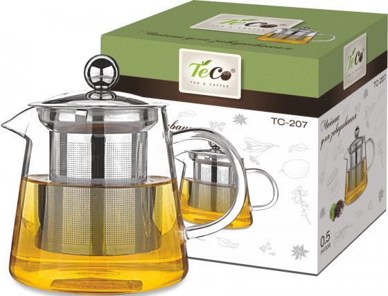 Чайник заварочный Teco TC-207 500 мл из стекла c ситом и крышкой из стекла
