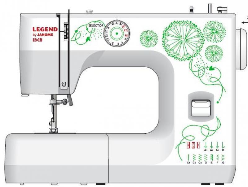 Швейная машина Janome Legend LE15 белый/цветы